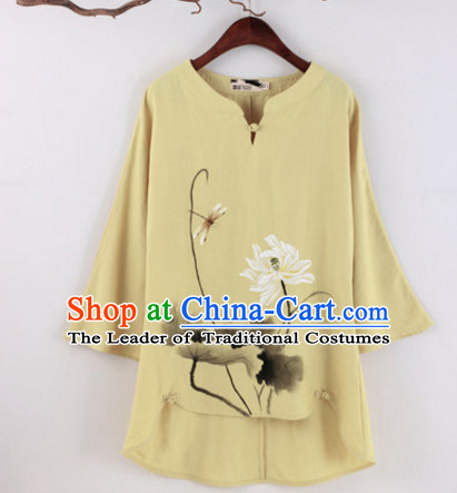 Top Chinese Traditional Hands Painted Lotus Blouse Clothing for Ladies