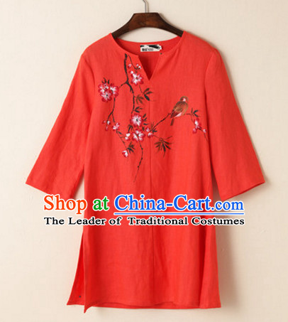 Top Chinese Traditional Hands Painted Birds and Flower Blouse Clothing for Ladies