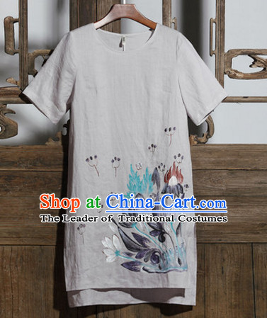 Top Chinese Traditional Hands Painted Castor Blouse Clothing for Ladies