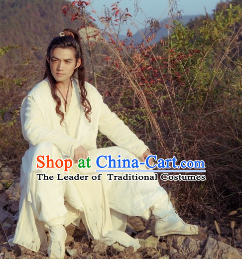 Ancient Chiinese Knight Samurai Costumes White Hanfu Clothing for Men
