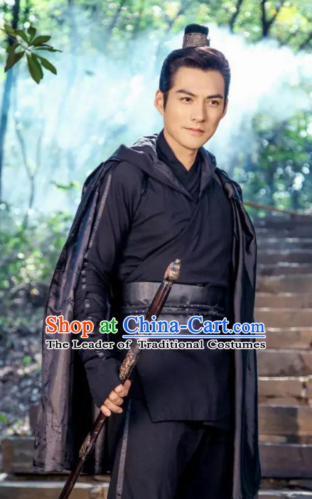 Black Ancient Chiinese Knight Samurai Costumes Hanfu Clothes Complete Set for Men