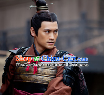 Ancient Chinese Hero General Hair Hat Wig Hair Accessories Headpiece Headdress for Men