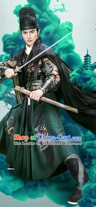 Ancient Chinese Ming Dynasty Knight Swordsman Clothes Costumes Clothing and Hat Complete Set for Men