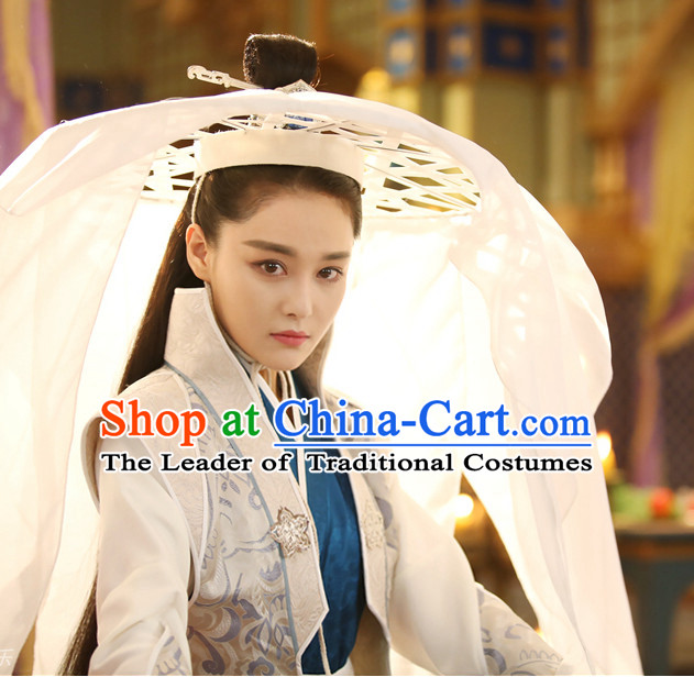 Ancient Chinese Pure White Long Veil Bamboo Hat