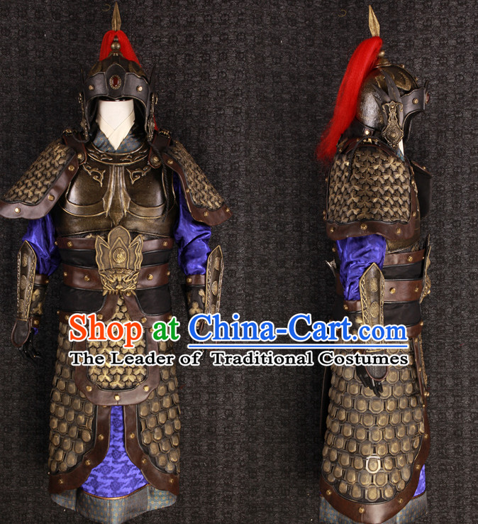 China Ancient General Hero Fighting Armor Costume and Tiger Helmet Complete Set for Men or Boys