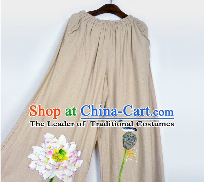 Chinese Classical Hands Painted Flower and Bird Pants