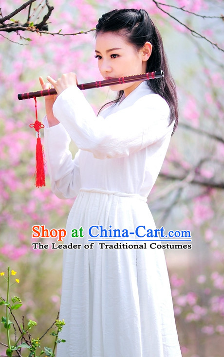 White Traditional Chinese Stage Hanfu Costume Opera Historical Dress Complete Set for Women Girls