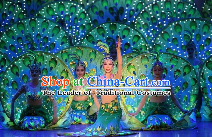 Traditional Chinese Yangge, Fan Dancing Wholesale Costume, Folk Dance Yangko Costume Peacock Dancewear for Women