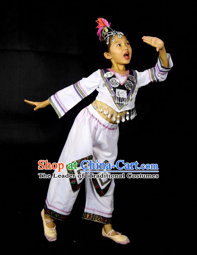 Traditional Chinese Yangge, Children Fan Dancing Wholesale Costume, Folk Dance Yangko Costume, Traditional Chinese Miao Nationality Dancewear for Kids