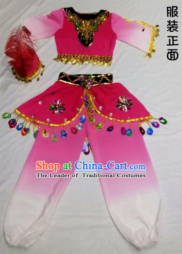 Traditional Chinese Yangge, Children Fan Dancing Wholesale Costume, Folk Dance Yangko Costume, Traditional Chinese Uyghur Nationality Dancewear for Kids