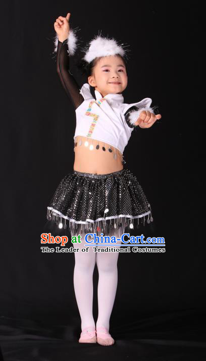 Traditional Chinese Yangge, Children Kindergarten Fan Dancing Wholesale Costume, Folk Dance Yangko Costume, Traditional Chinese Mongolian Nationality Dancewear for Kids