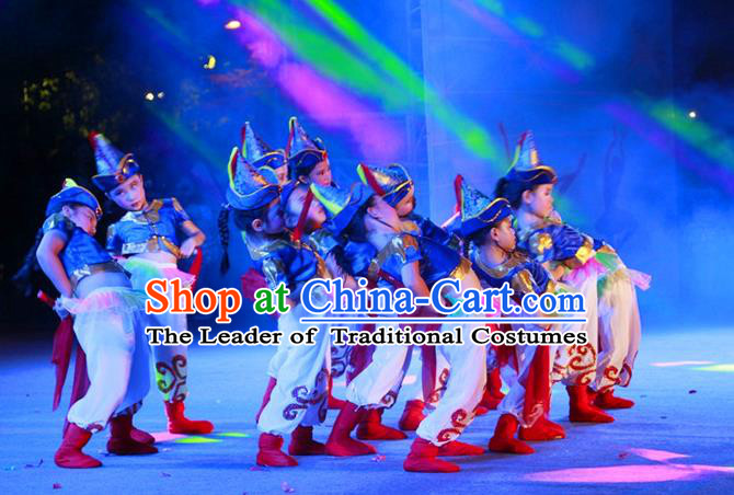 Traditional Chinese Yangge, Children Fan Dancing Wholesale Costume, Folk Dance Yangko Costume, Traditional Chinese Mongolian Minority Nationality Dancewear for Kids