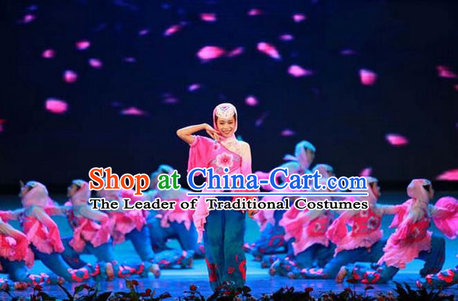 Traditional Chinese Yangge, Children Fan Dancing Wholesale Costume, Folk Dance Yangko Costume, Traditional Chinese Hui Minority Nationality Dancewear for Kids