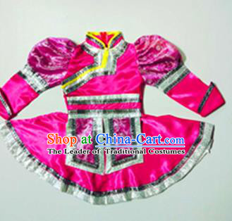Traditional Chinese Yangge, Children Fan Dancing Wholesale Costume, Folk Dance Yangko Mongolian Dance Costume, Traditional Chinese Mongolian Nationality Drums Dancewear for Kids