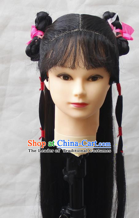 Chinese Ancient Young Women Long Wig Set, Traditional Chinese Han Dynasty Hats Wig Hoods for Women