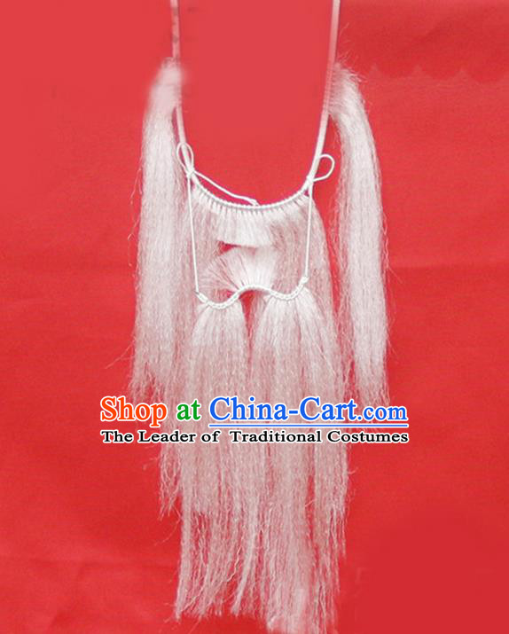 Chinese Ancient Opera Old Men Long Wig Beard, Traditional Chinese Beijing Opera Props Mustache