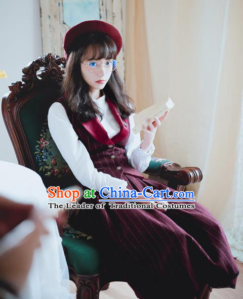 Traditional Classic Women Clothing, Traditional Classic Woolen Dress, British Restoring Ancient Striped Wool Vest and Long Skirt Complete Set for Women