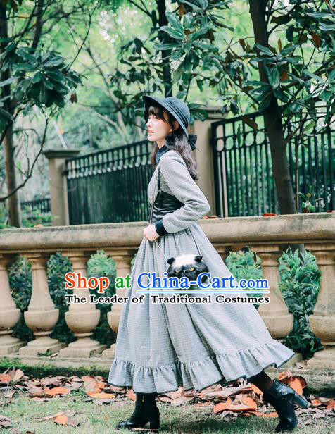 Traditional Classic Women Clothing, Traditional Classic Woolen Long Skirt, British Restoring Ancient Wool One-piece Dress for Women