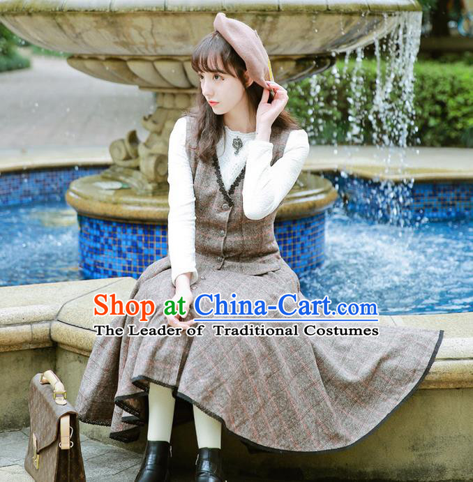 Traditional Classic Women Clothing, Traditional Classic Woolen Dress, British Restoring Ancient Wool Vest and Long Skirt Complete Set for Women