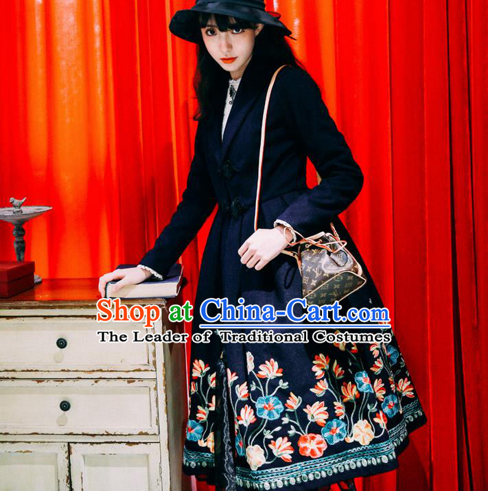 Traditional Classic Women Clothing, Traditional Classic Chinese Woolen Coat, Chinese Ancient Style Plate Buttons Embroidered Dust Coat for Women
