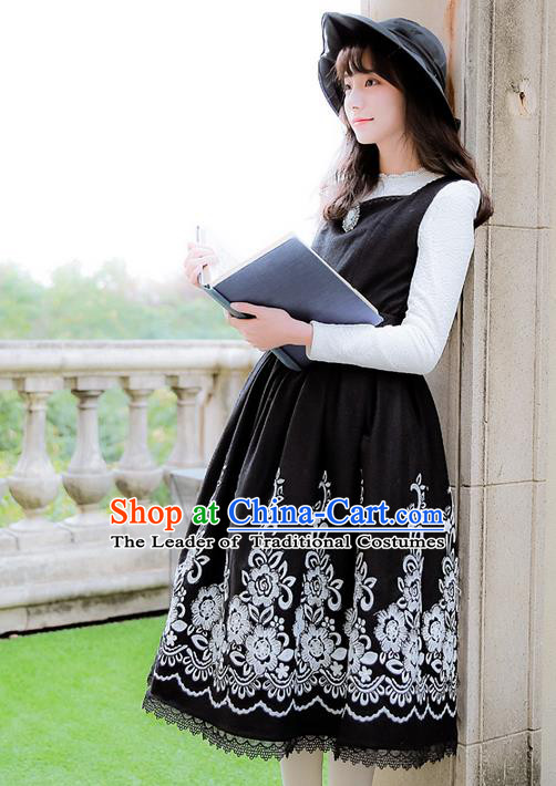 Traditional Classic Women Clothing, Traditional Classic Woolen Embroidered One-piece Dress, British Restoring Ancient Vest Wool Embroidered Long Skirt for Women