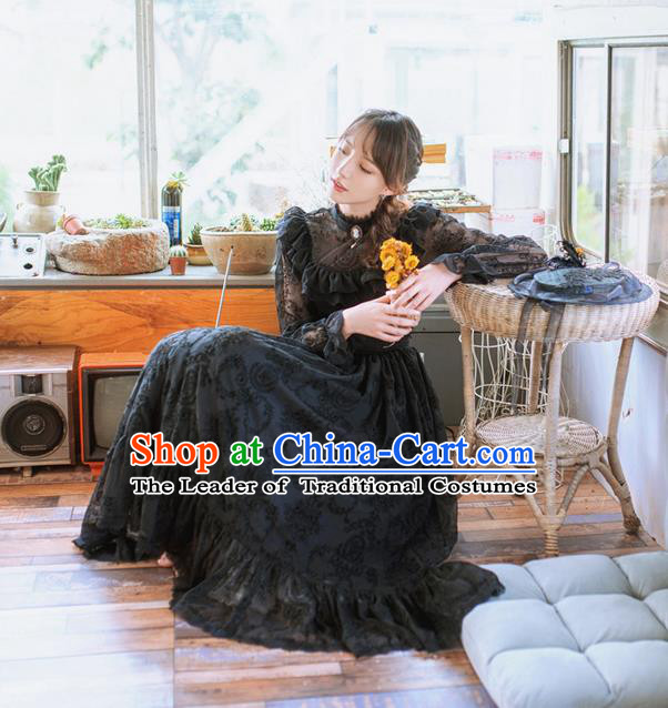 Traditional Classic Women Clothing, Traditional Classic Gothic Flocking Lace Long-Sleeved Dress Long Skirts