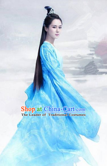 Traditional Chinese Ancient Heroine Fairy Costumes, Ancient Chinese Cosplay Swordswomen Knight Costume Complete Set for Women