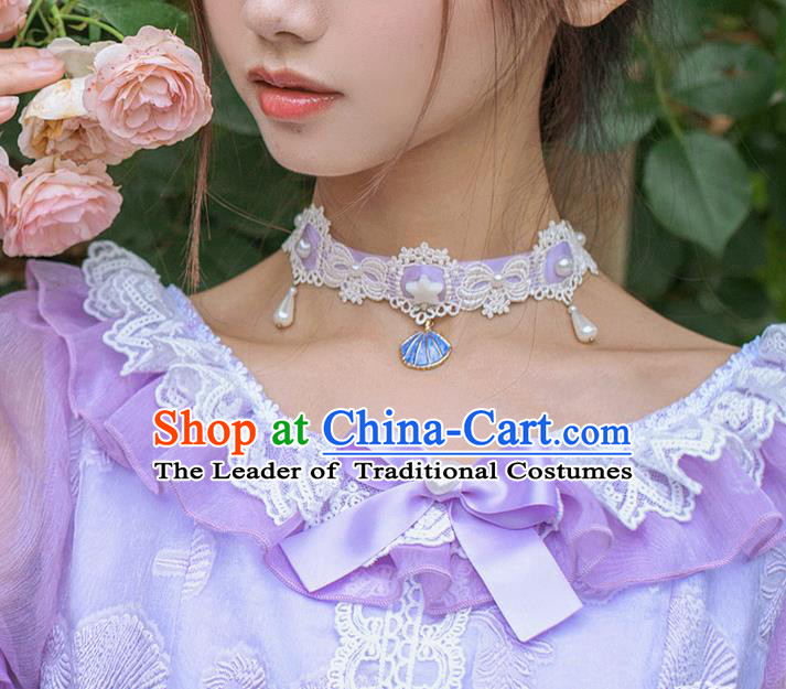 Traditional Classic Pearl Necklace, Restoring Ancient Lace Necklace for Women