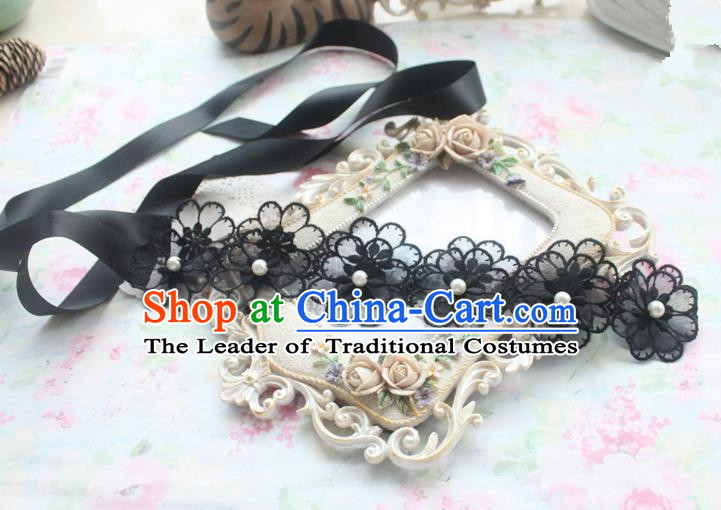 Traditional Classic Hair Accessories, Restoring Ancient Lace Princess Handmade Flowers Hair Ribbon for Women