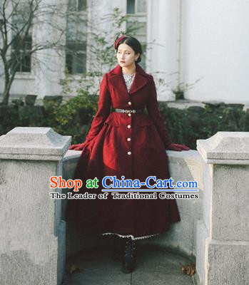 Traditional Classic Elegant Women Costume Woolen Coat, Restoring Ancient Gothic Princess Dust Coat for Women