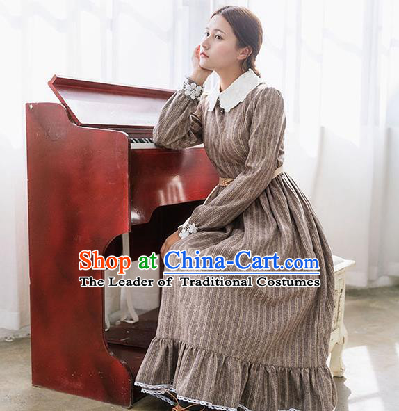 Traditional Classic Elegant Women Costume Woolen One-Piece Dress, Restoring Ancient Princess Wool Giant Swing Long Skirt for Women