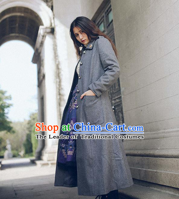 Traditional Classic Elegant Women Costume Woolen Coat, Restoring Ancient British Style Wool Dust Coat for Women