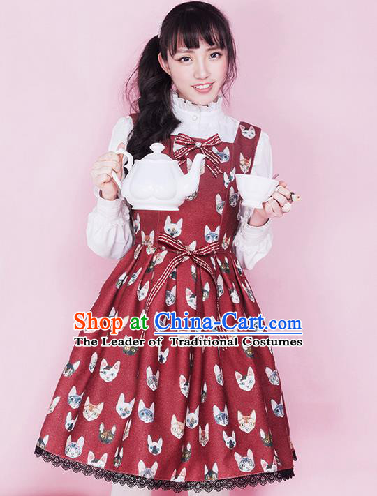 Traditional Classic Elegant Women Costume Woolen Sundress, Restoring Ancient Christmas Cats Wool Jumper Skirt for Women