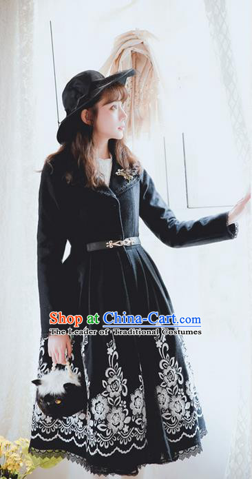 Traditional Classic Elegant Women Costume Embroidery Woolen Coat, Restoring Ancient Gothic Lapel Wool Dust Coat for Women