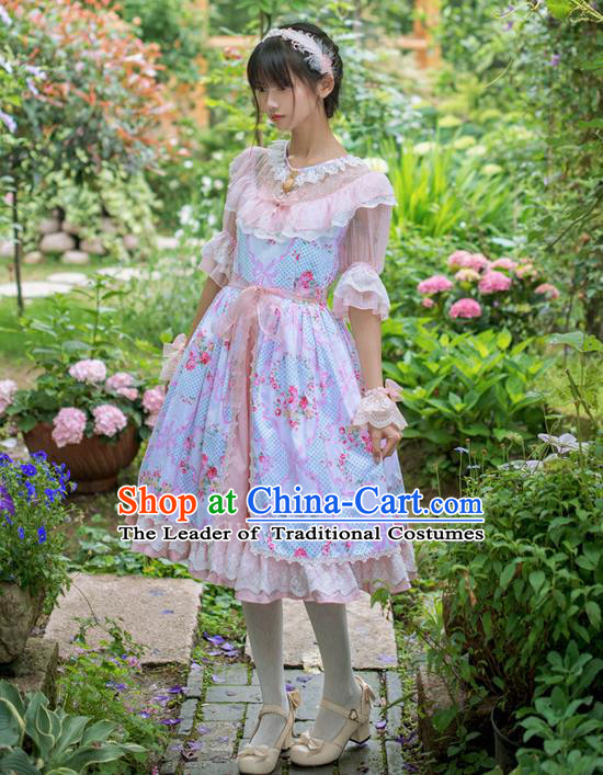 Traditional Classic Elegant Women Costume Lace Embroidery One-Piece Dress, Restoring Ancient Princess Three-Dimensional Plate Flowers Giant Swing Skirt for Women