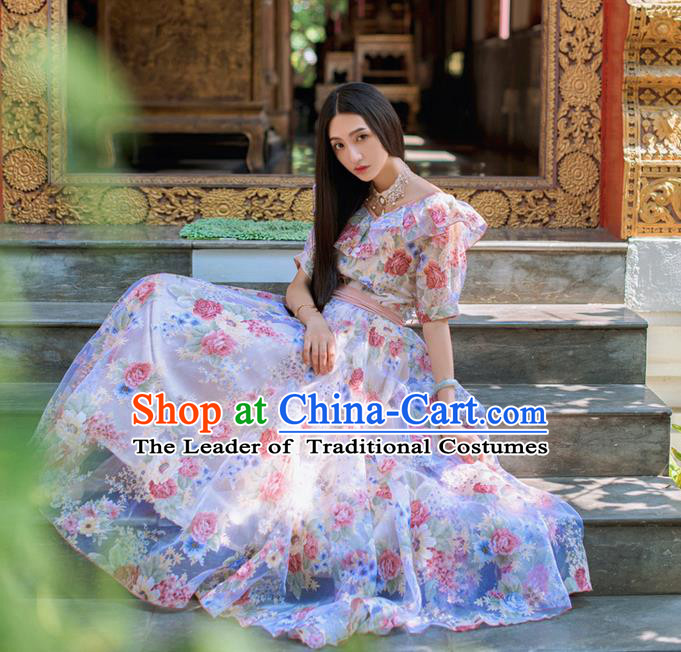 Traditional Classic Elegant Women Costume One-Piece Dress, Restoring Ancient Princess Printed organza Long Dress for Women