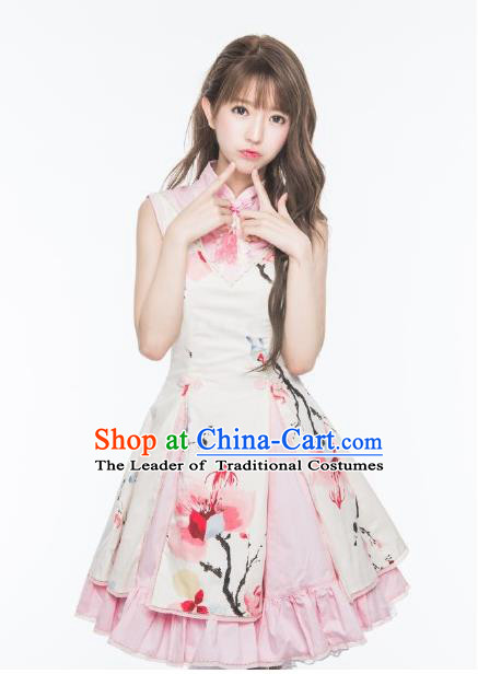 Traditional Classic Chinese Elegant Women Costume Ink Painting One-Piece Dress, Restoring Ancient Princess Stand Collar Dress for Women