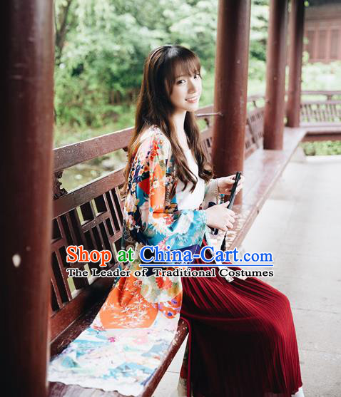 Traditional Japanese Restoring Ancient Kimono Costume Haori Crane Smock, China Kimono Modified Tassel Long Cardigan for Women