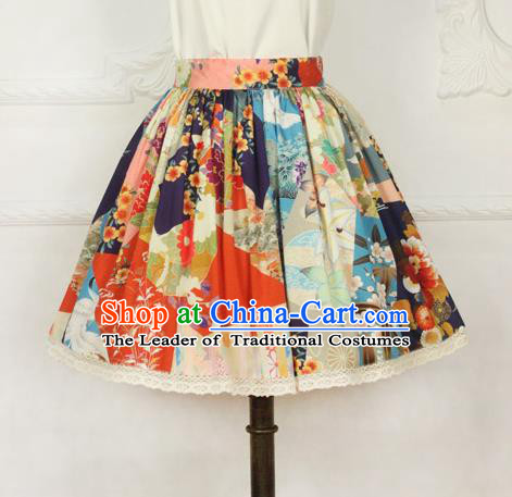 Traditional Japanese Restoring Ancient Kimono Costume Haori Short Skirt, China Kimono Modified Short Bust Skirt for Women