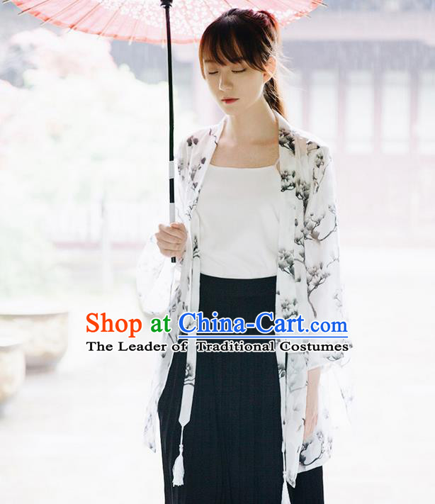 Traditional Japanese Restoring Ancient Kimono Costume Haori Signature Cotton Smock, China Kimono Modified Tassel Michelia Alba Long Cardigan for Women