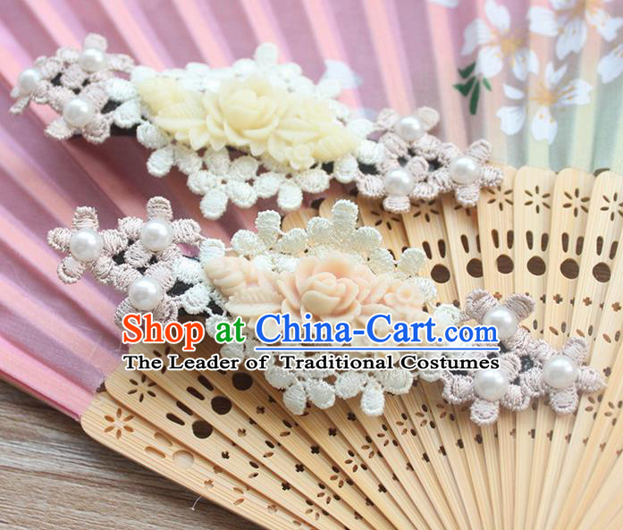 Traditional Classic Chinese Restoring Ancient Hair Jewelry Accessories Hair Claws, Elegant Lace Embroidery Flower Hairpin for Women