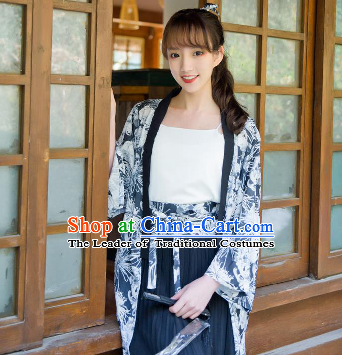 Traditional Japanese Restoring Ancient Kimono Costume Haori Smock, China Kimono Modified Double Size Long Cardigan for Women