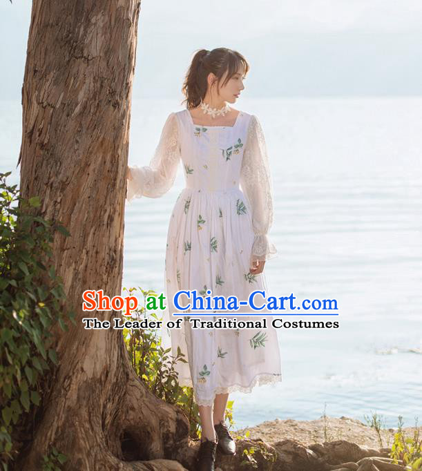 Traditional Classic Elegant Chinese Women Costume One-Piece Dress, Restoring Ancient Princess Cotton Long White Dress for Women