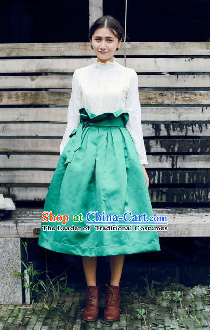 Traditional Classic Elegant Women Costume Satin Bust Skirt, Restoring Ancient Princess High Waist Giant Swing Skirt for Women