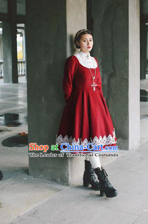 Traditional Classic Elegant Women Costume Palace Woolen Bead One-Piece Dress, Restoring Ancient Princess Royal Long Dress for Women