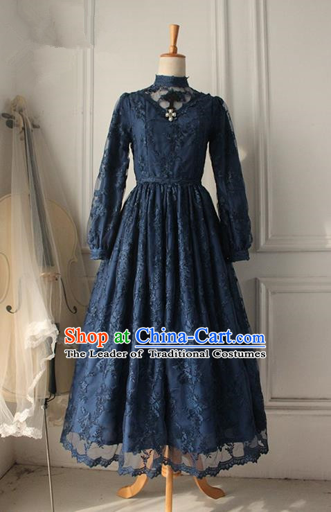 Traditional Classic Elegant Women Costume Palace One-Piece Dress, Restoring Ancient Gothic Princess Royal Lace Long Dress for Women