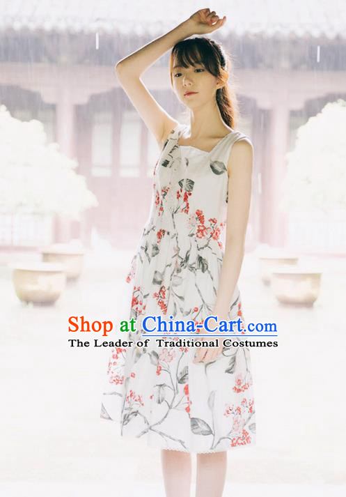 Traditional Classic Elegant Women Costume Cotton One-Piece Dress, Restoring Ancient Princess Cotton Embroidered Lace Dress for Women