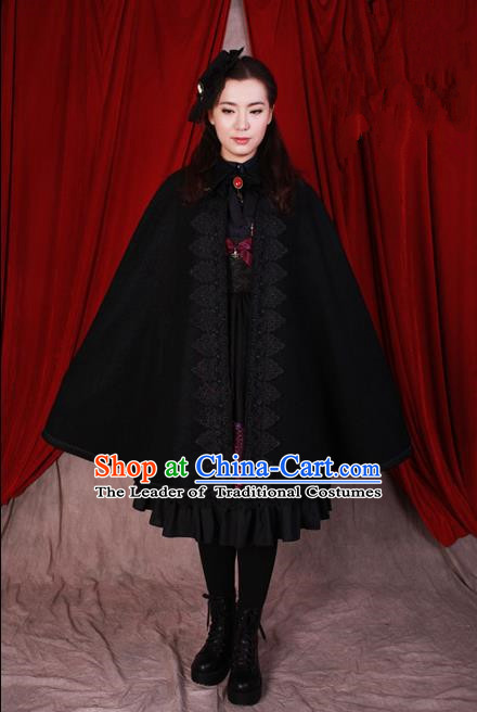 Traditional Classic Elegant Women Costume Woolen Cape, Restoring Ancient Gothic Royal Wool Lace Cloak for Women