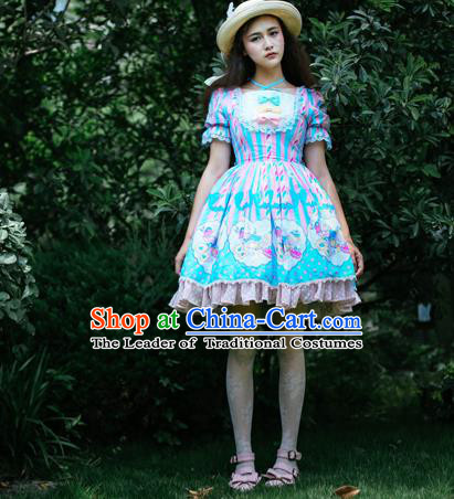 Traditional Classic Elegant Women Costume One-Piece Dress, British Restoring Ancient Princess Sweet Dress for Women