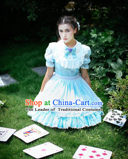 Traditional Classic Elegant Women Costume One-Piece Dress, British Restoring Ancient Princess Sweet Round Collar Dress for Women